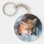 Fox rojo en nieve llavero personalizado