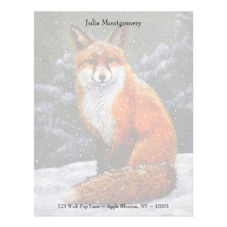 Fox rojo en nieve que cae plantilla de membrete