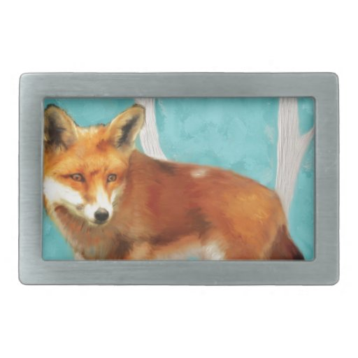 Fox rojo hebilla de cinturón rectangular