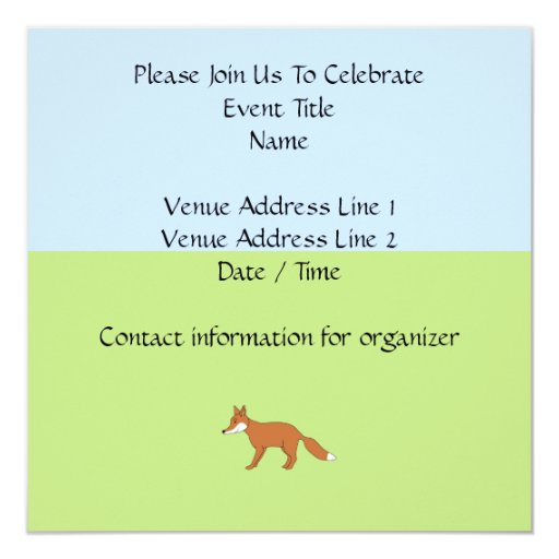 Fox. rojo invitación 13,3 cm x 13,3cm