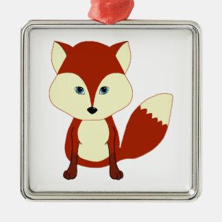 Fox rojo lindo adorno navideño cuadrado de metal
