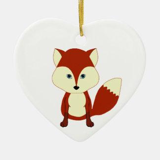 Fox rojo lindo adorno navideño de cerámica en forma de corazón