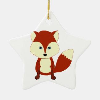 Fox rojo lindo adorno navideño de cerámica en forma de estrella
