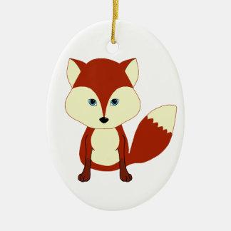 Fox rojo lindo adorno navideño ovalado de cerámica