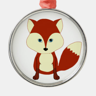 Fox rojo lindo adorno navideño redondo de metal