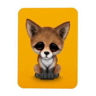 Fox rojo lindo Cub en amarillo Imanes