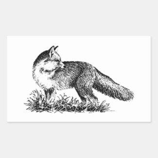 Fox rojo (línea arte) pegatina rectangular