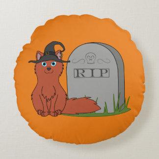Fox rojo natural con la piedra del sepulcro del cojín redondo