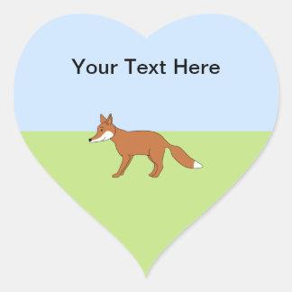 Fox rojo pegatina de corazón