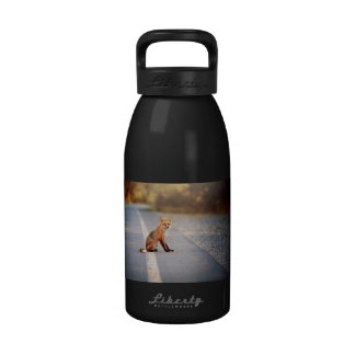 Fox rojo que se sienta en el lado del camino botellas de agua reutilizables