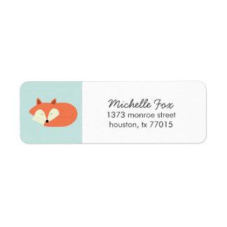 Fox rojo soñoliento etiqueta de remite