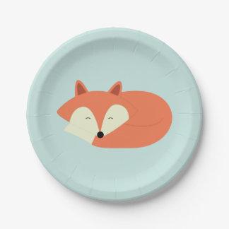 Fox rojo soñoliento platos de papel