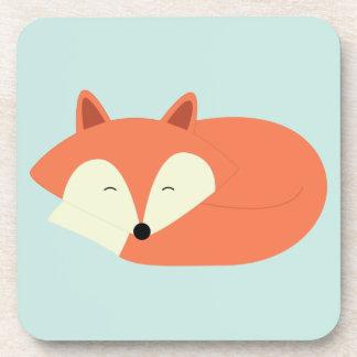 Fox rojo soñoliento posavasos de bebidas