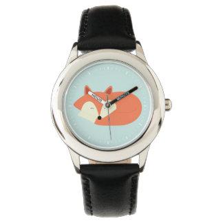 Fox rojo soñoliento reloj de mano