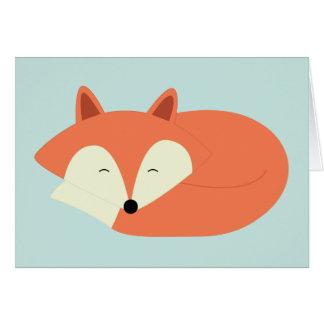 Fox rojo soñoliento tarjeta pequeña