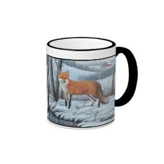 Fox rojo taza de dos colores