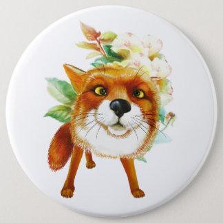 Fox Roses. Watercolor Pinback Button