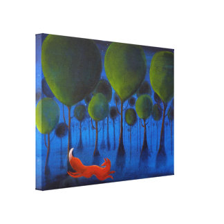 Fox Running In Woodland at Night. Canvas Prints