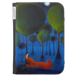 Fox Running In Woodland at Night. Kindle Folio Cases