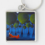 Fox Running In Woodland at Night. Silver-Colored Square Keychain