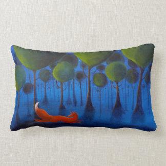 Fox Running In Woodland at Night. Lumbar Pillow