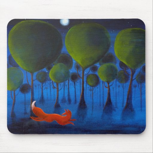 Fox Running In Woodland at Night. Mousepads
