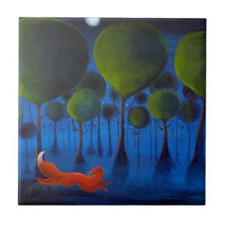 Fox Running In Woodland at Night. Tile