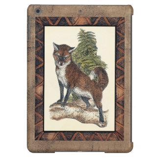 Fox rústico que camina en un tronco de árbol