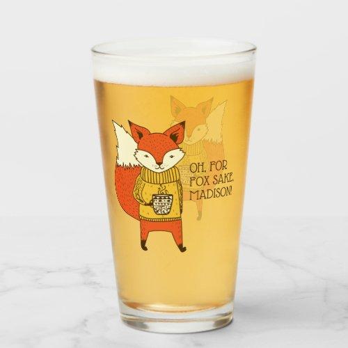 Fox Sake custom text pint glass