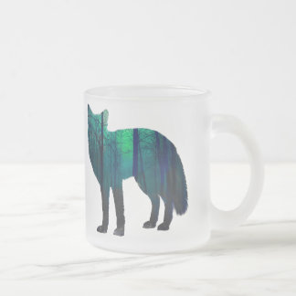 Fox silhouette - forest fox - fox art - wildfox frosted glass coffee mug