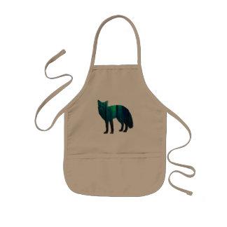 Fox silhouette - forest fox - fox art - wildfox kids' apron