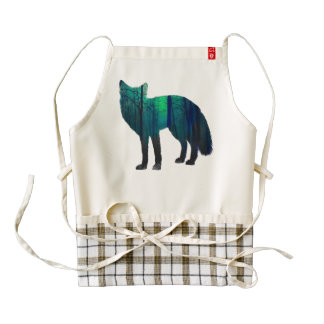 Fox silhouette - forest fox - fox art - wildfox zazzle HEART apron