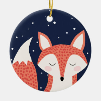 Fox sleeping night stars ceramic ornament
