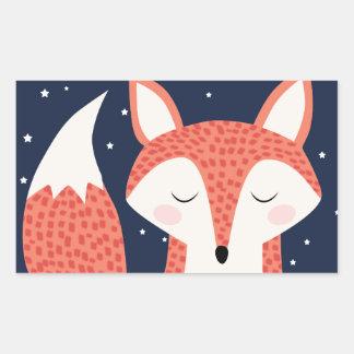 Fox sleeping night stars rectangular sticker