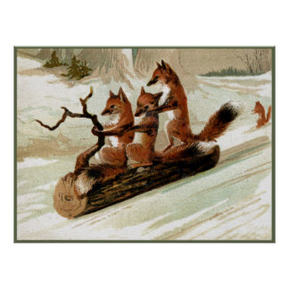 Fox Sleigh Ride Vintage Print