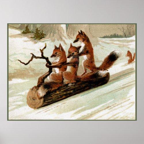 Fox Sleigh Ride Vintage Print