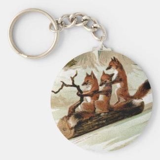 Fox Sleigh Ride Vintage Print Basic Round Button Keychain
