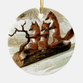 Fox Sleigh Ride Vintage Print Ceramic Ornament