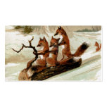 Fox Sleigh Ride Vintage Print Double-Sided Standard Business Cards (Pack Of 100)
