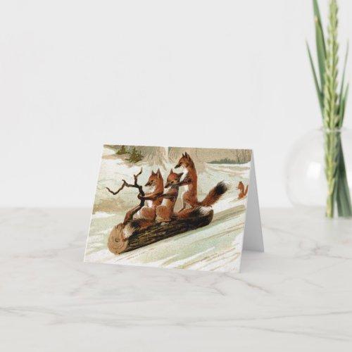 Fox Sleigh Ride Vintage Print Holiday Card