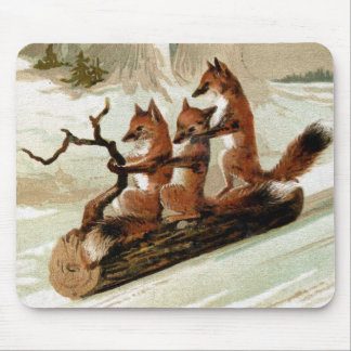 Fox Sleigh Ride Vintage Print Mouse Pad