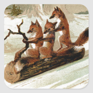 Fox Sleigh Ride Vintage Print Square Sticker