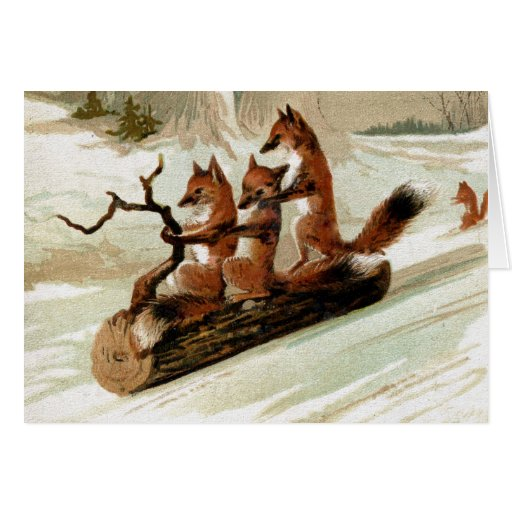 Fox Sleigh Ride Vintage Print Stationery Note Card