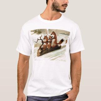 Fox Sleigh Ride Vintage Print T-Shirt