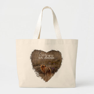 Fox Sniffing the Crocuses; Customizable Large Tote Bag