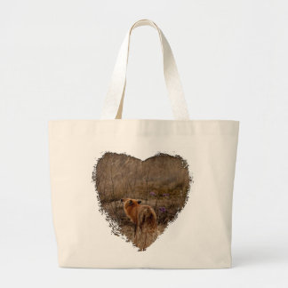 Fox Sniffing the Crocuses Large Tote Bag