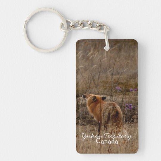 Fox Sniffing the Crocuses; Yukon Souvenir Keychain