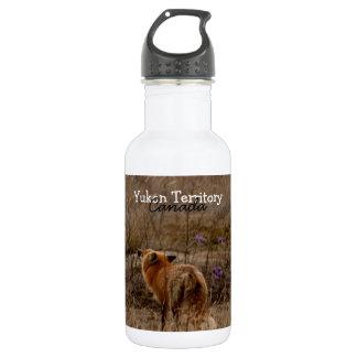Fox Sniffing the Crocuses; Yukon Souvenir 18oz Water Bottle