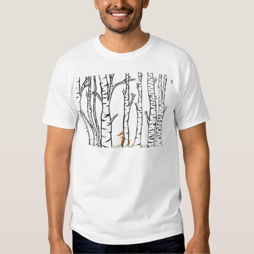 Fox solo en árboles de abedul polera