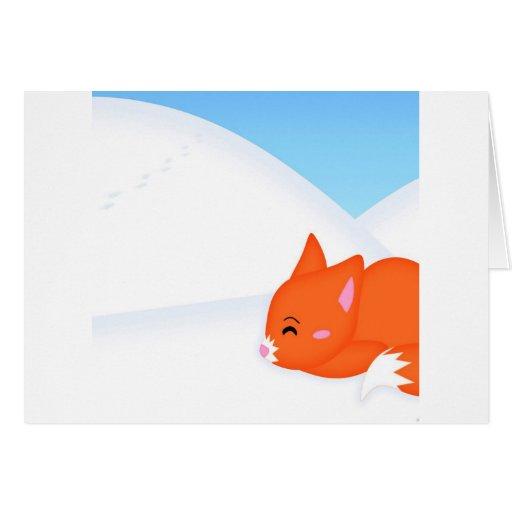 Fox soñoliento animal abstracto tarjeta de felicitación